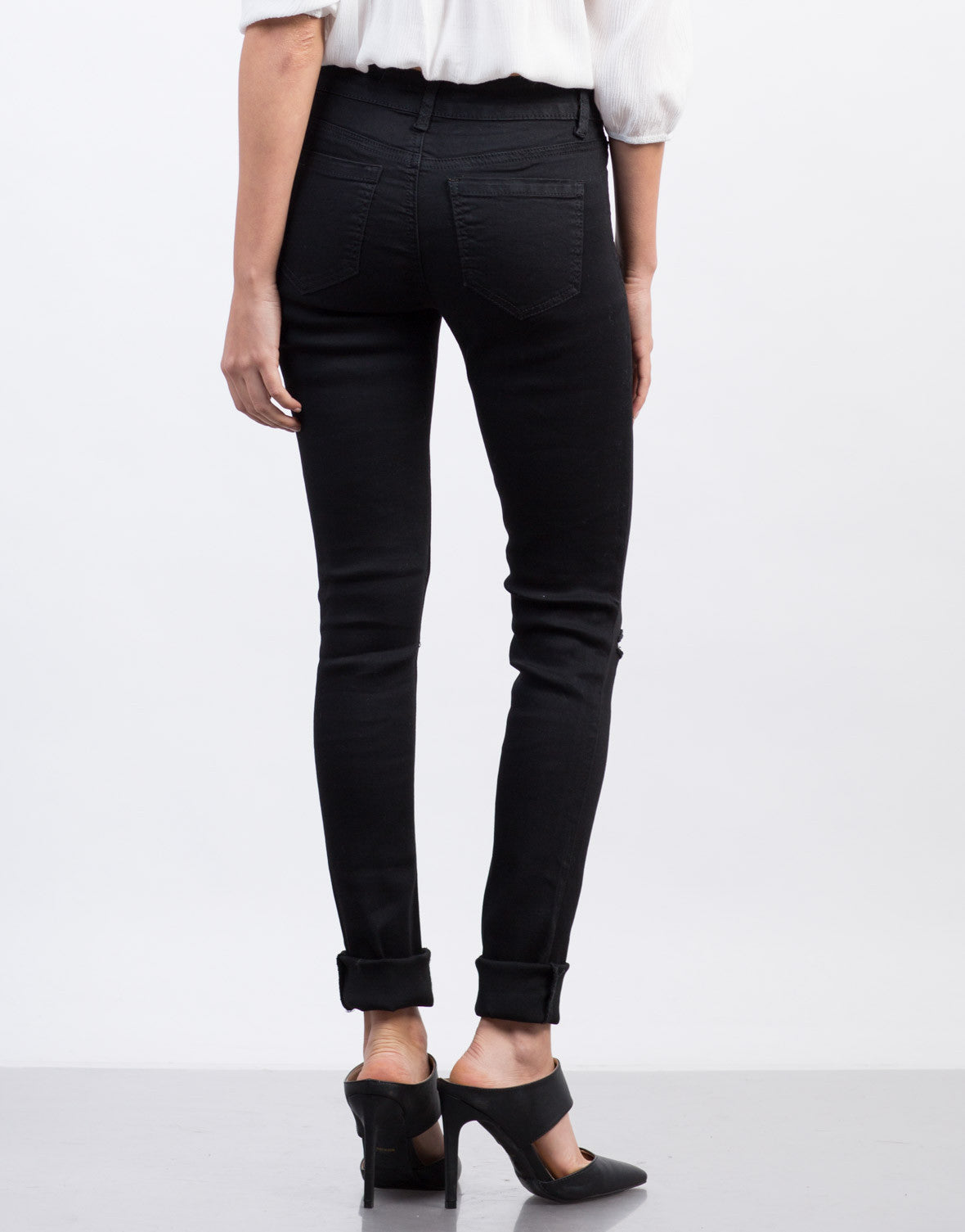 Back View of Ripped High Waisted Skinny Jeans