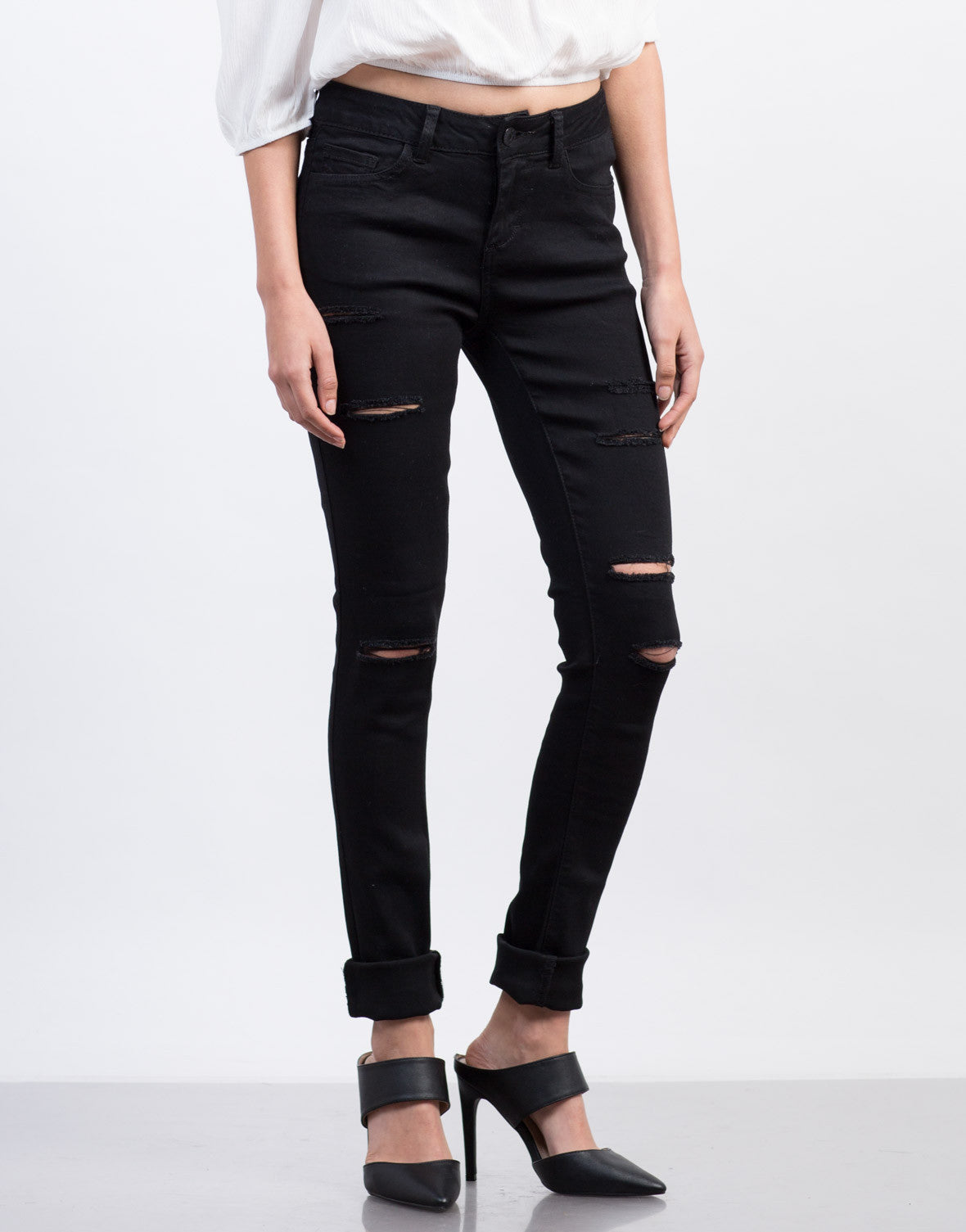 Front View of Ripped High Waisted Skinny Jeans
