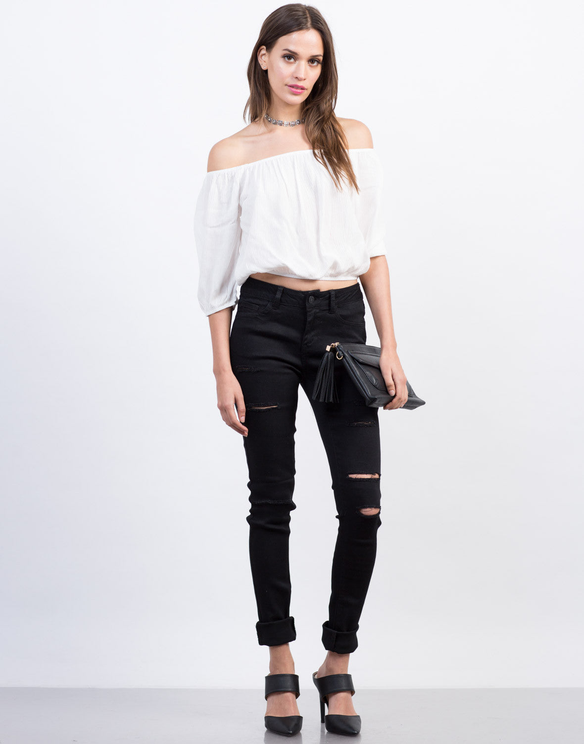 Ripped High Waisted Skinny Jeans - 2020AVE