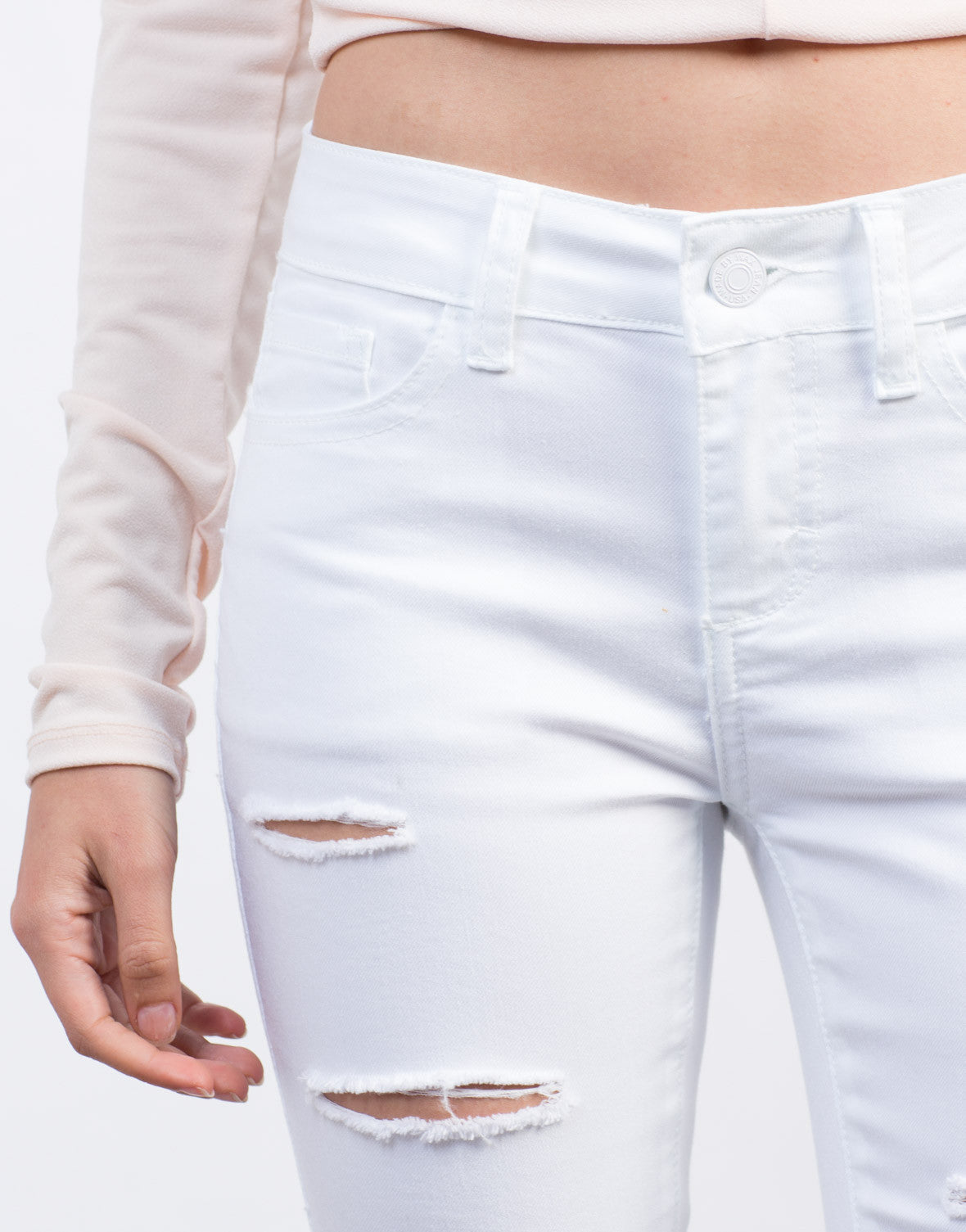 Detail of Ripped High Waisted Skinny Jeans