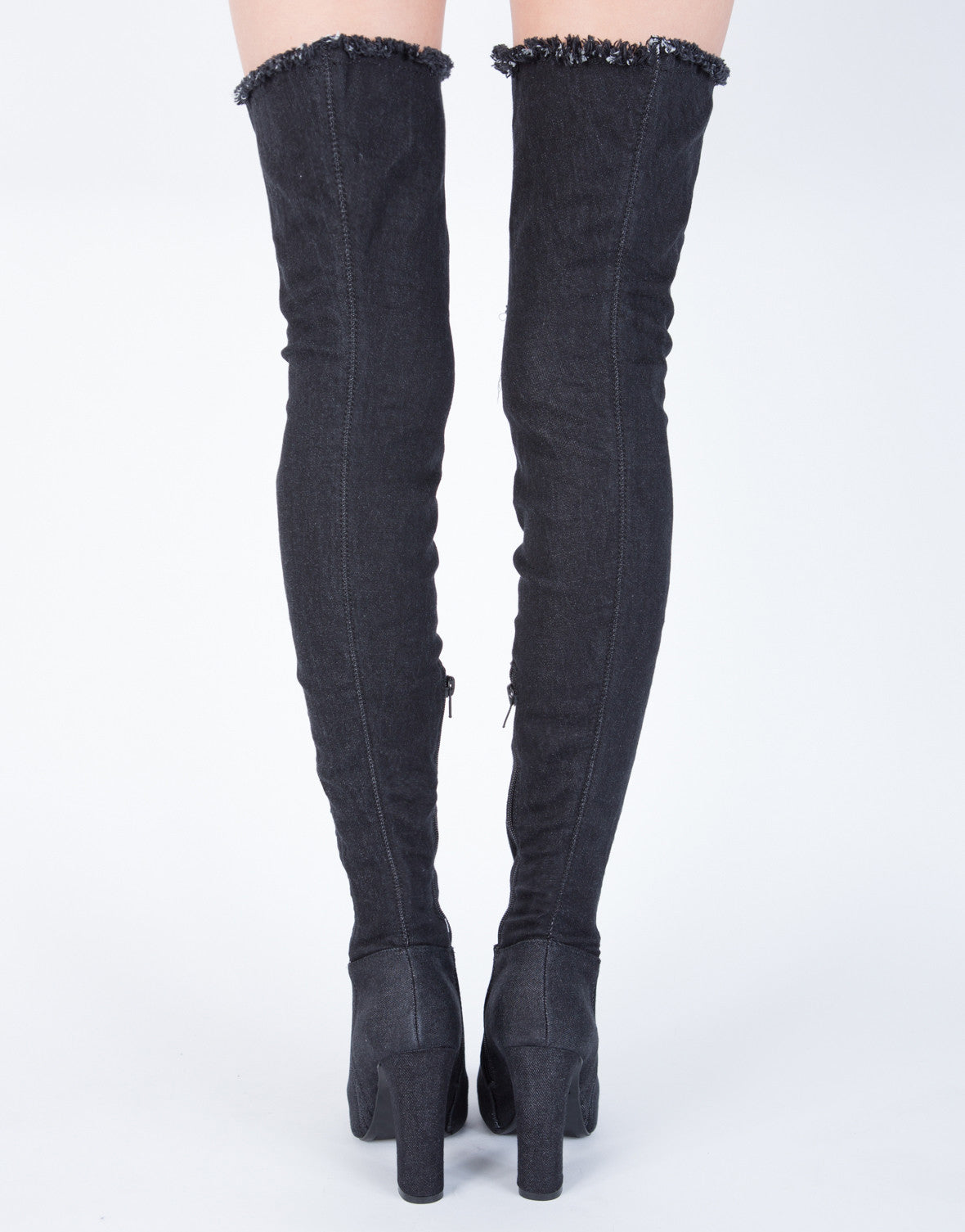 Ripped Knee Denim Boots