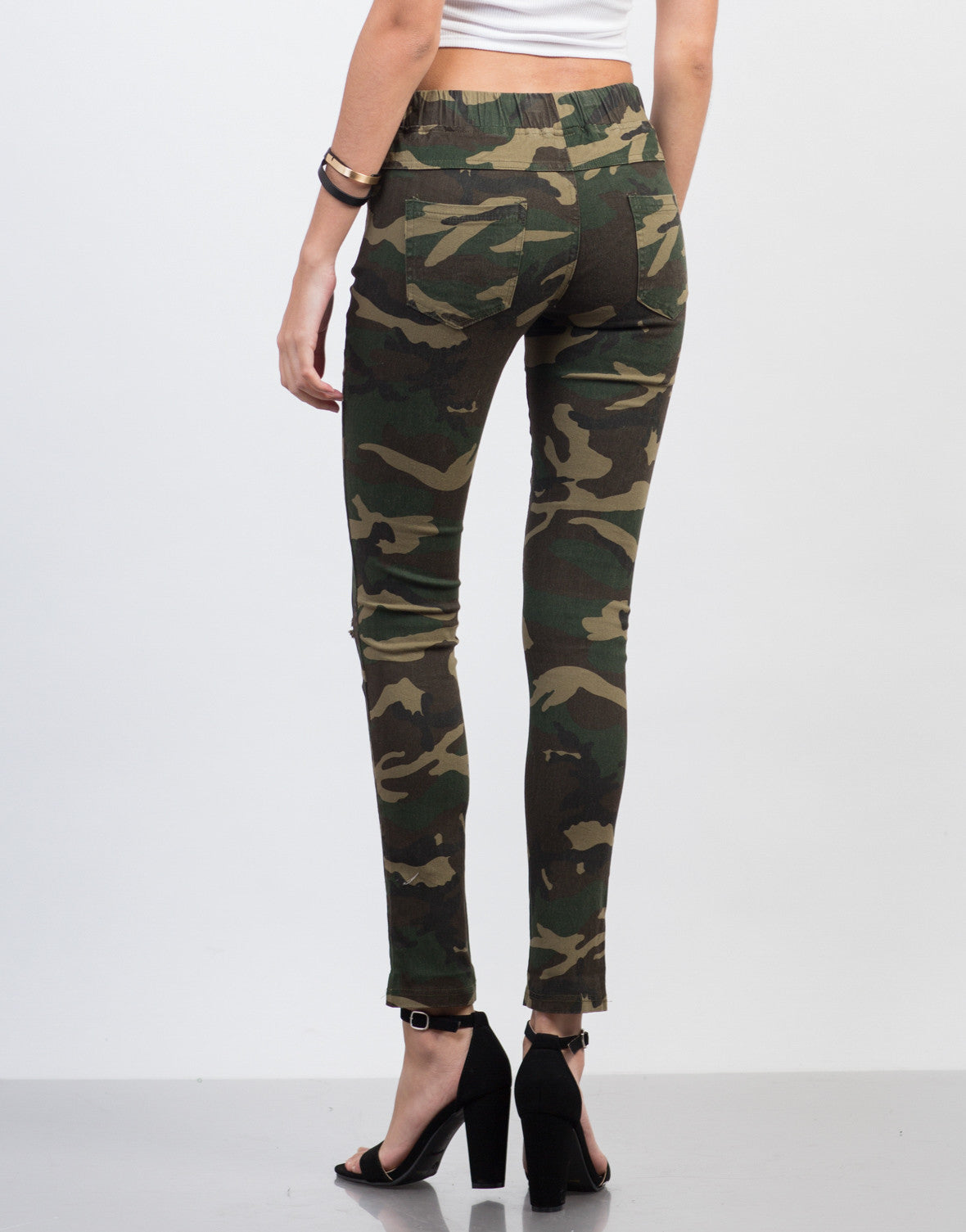 Back View of Ripped Knees Camo Pants