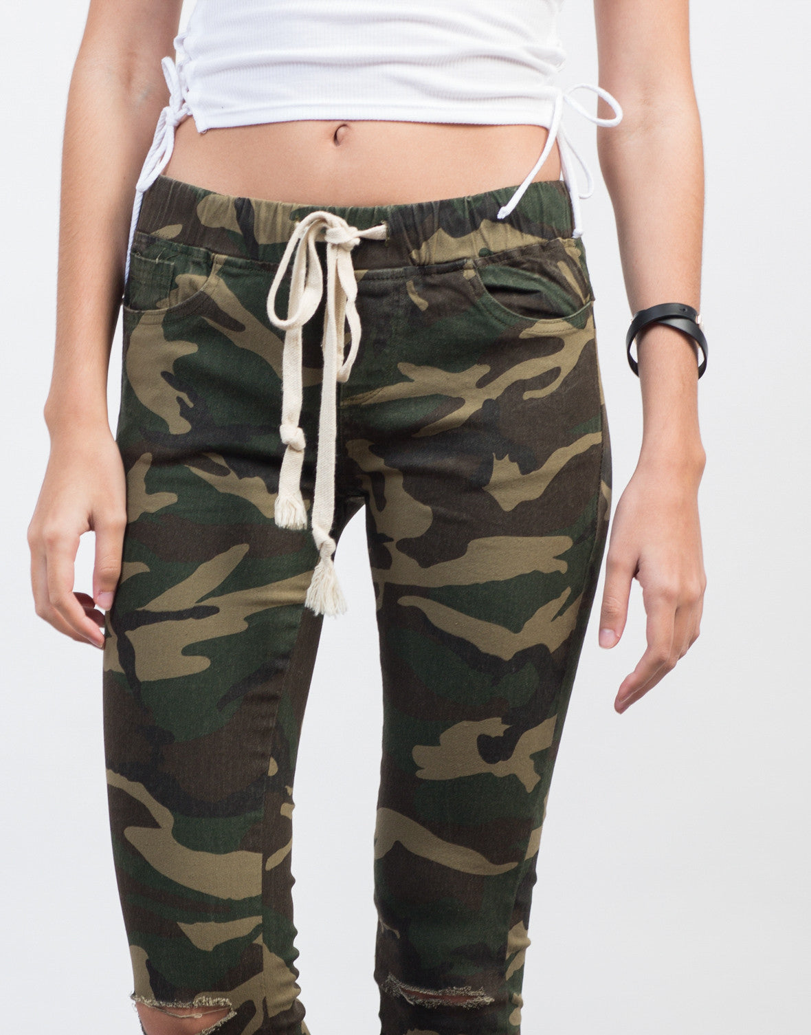 Detail of Ripped Knees Camo Pants