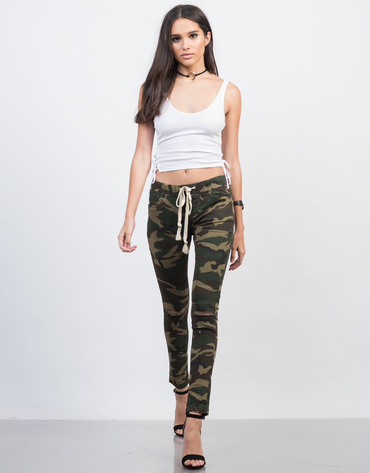 Front View of Ripped Knees Camo Pants