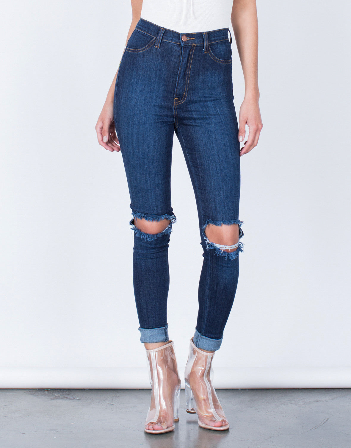 Front View of Ripped Knee Stretchy Skinny Jeans