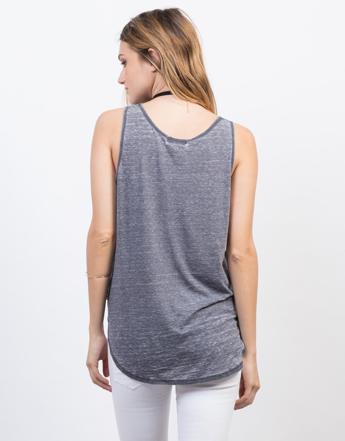 Back View of Ripped Sides Tank Top