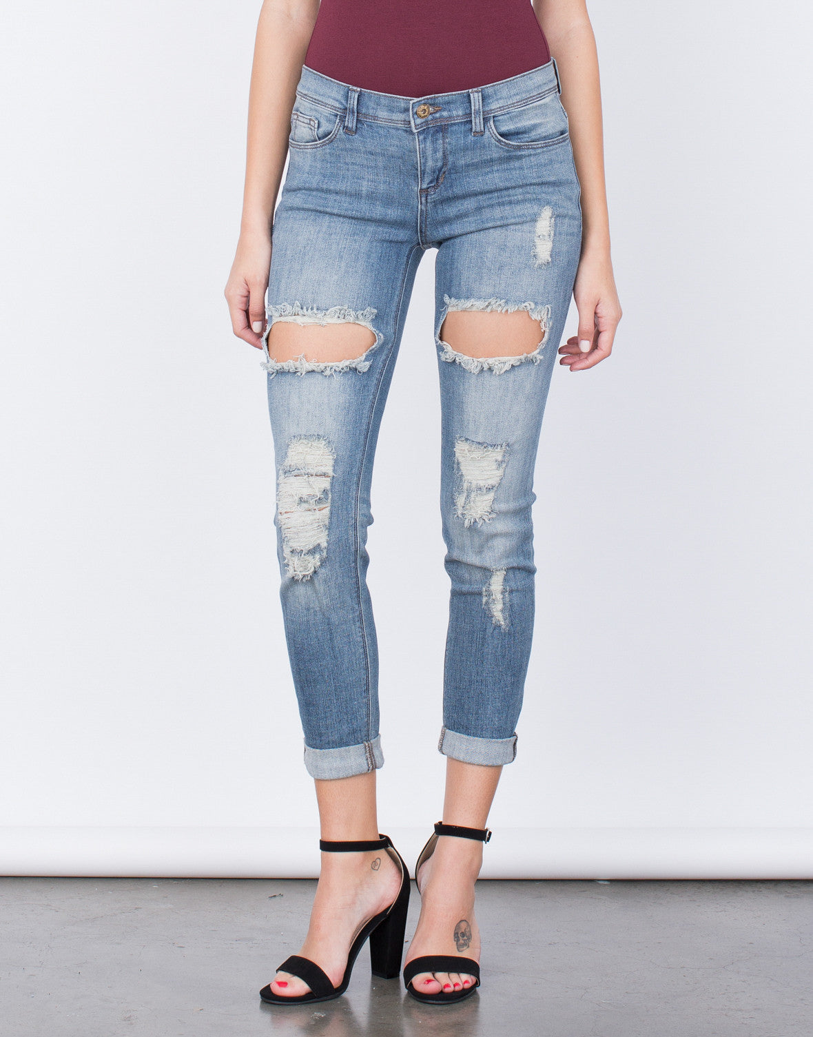 Front View of Ripped Up Jeans
