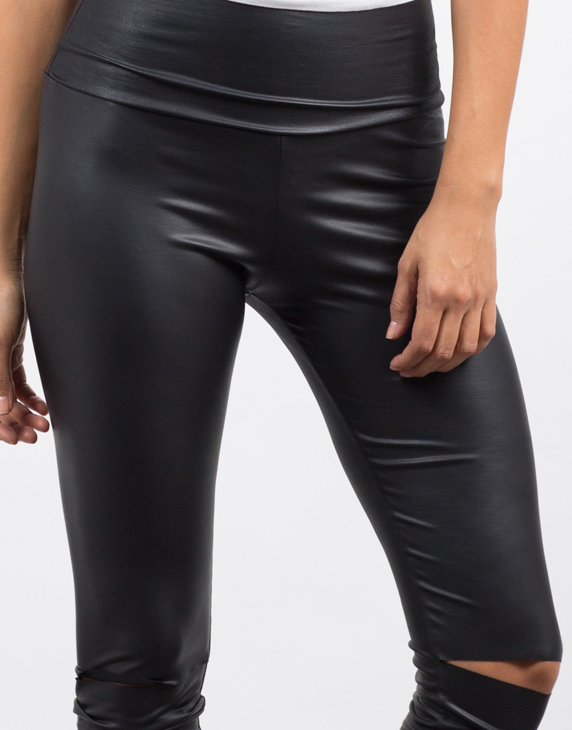 Detail of Ripped Knees Leather Leggings