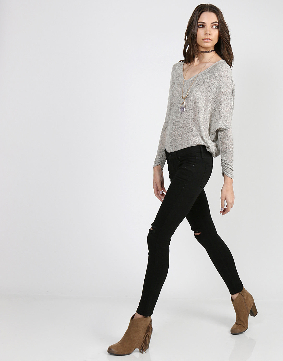 Ripped Knees Skinny Jeans - 11 - 2020AVE
