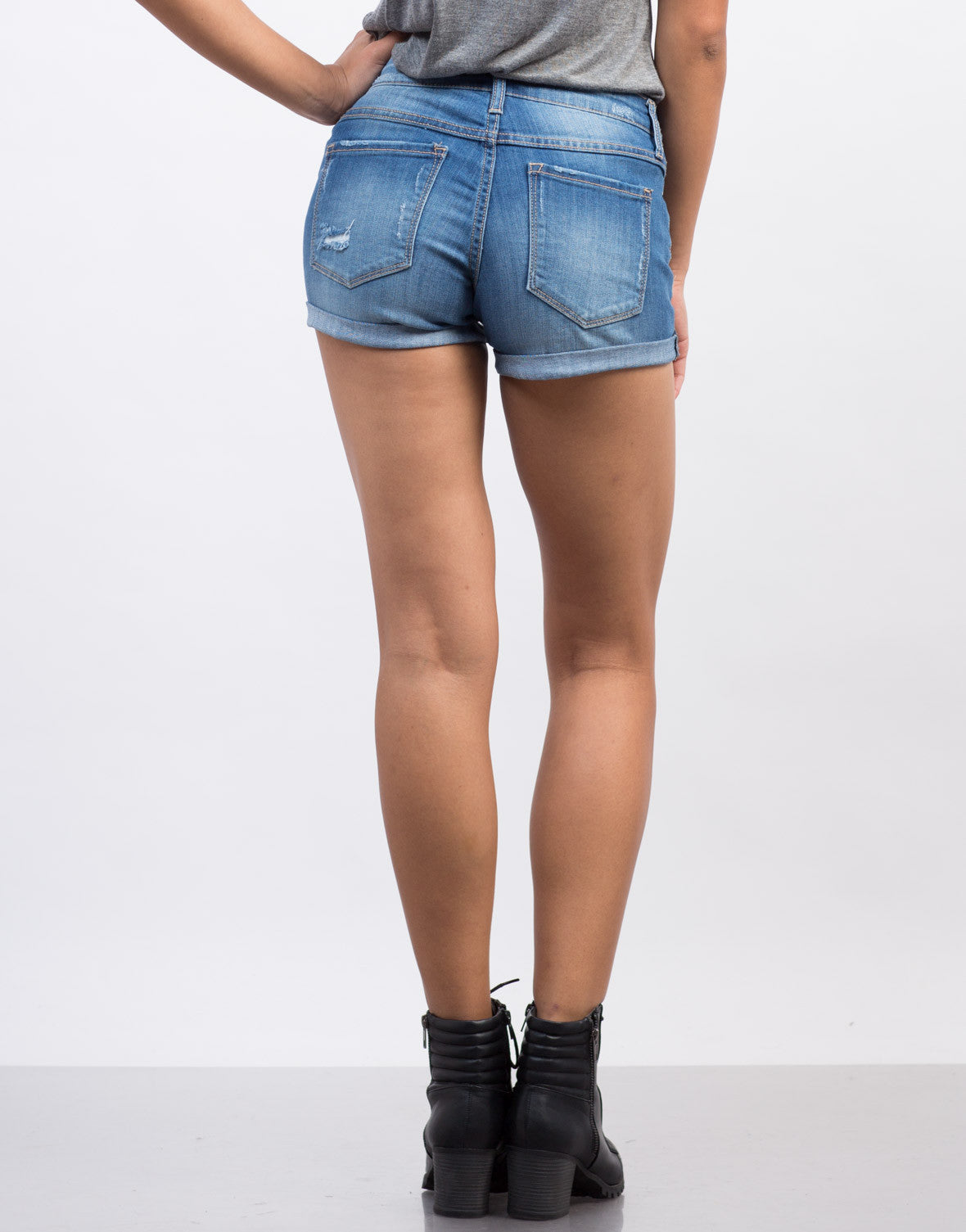 Back View of Rolled Up Denim Shorts