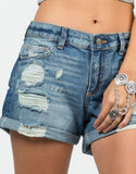 Detail of Rolled Up Destroyed Denim Shorts - Blue Denim