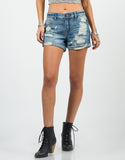 Front View of Rolled Up Destroyed Denim Shorts - Blue Denim