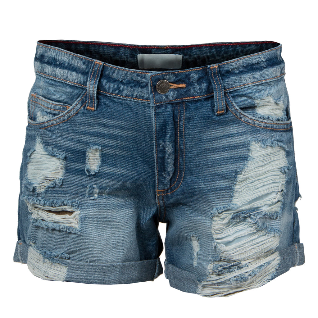 Rolled Up Destroyed Denim Shorts - Blue Denim - 2020AVE