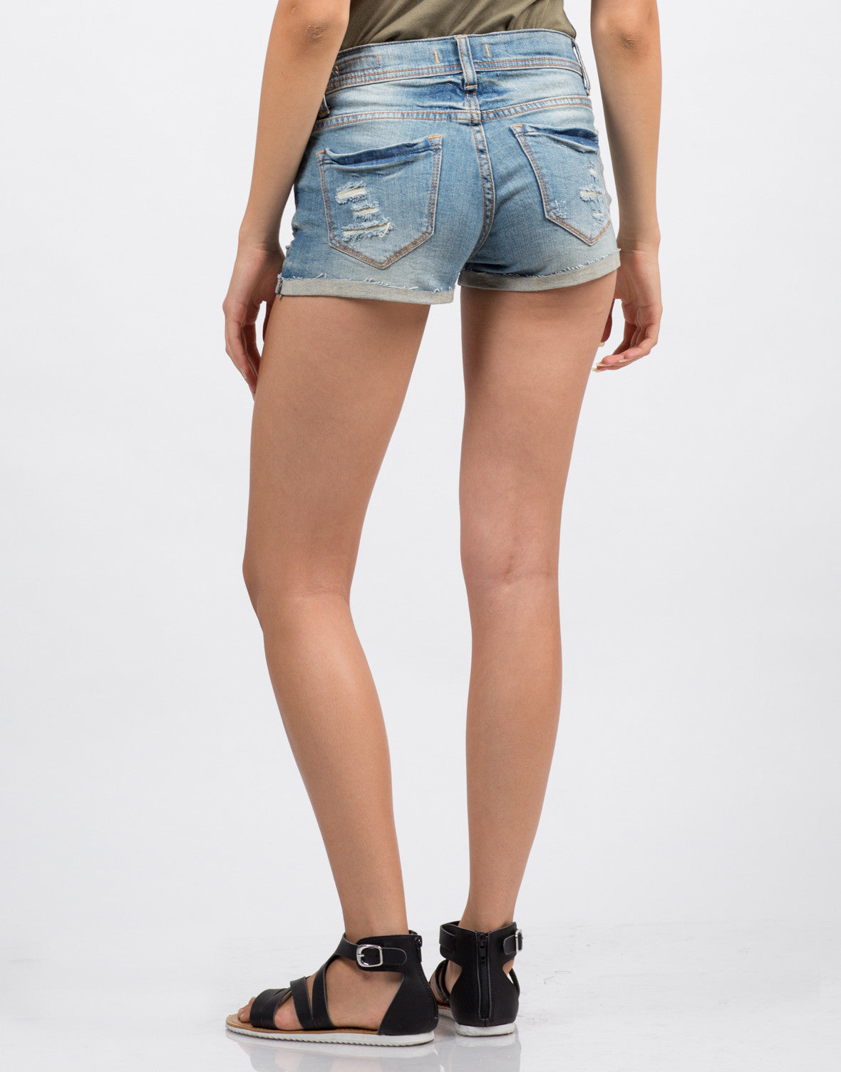 Rolled Up Distressed Denim Shorts - 2020AVE