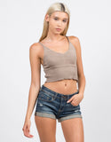 Front View of Roll Up Denim Shorts