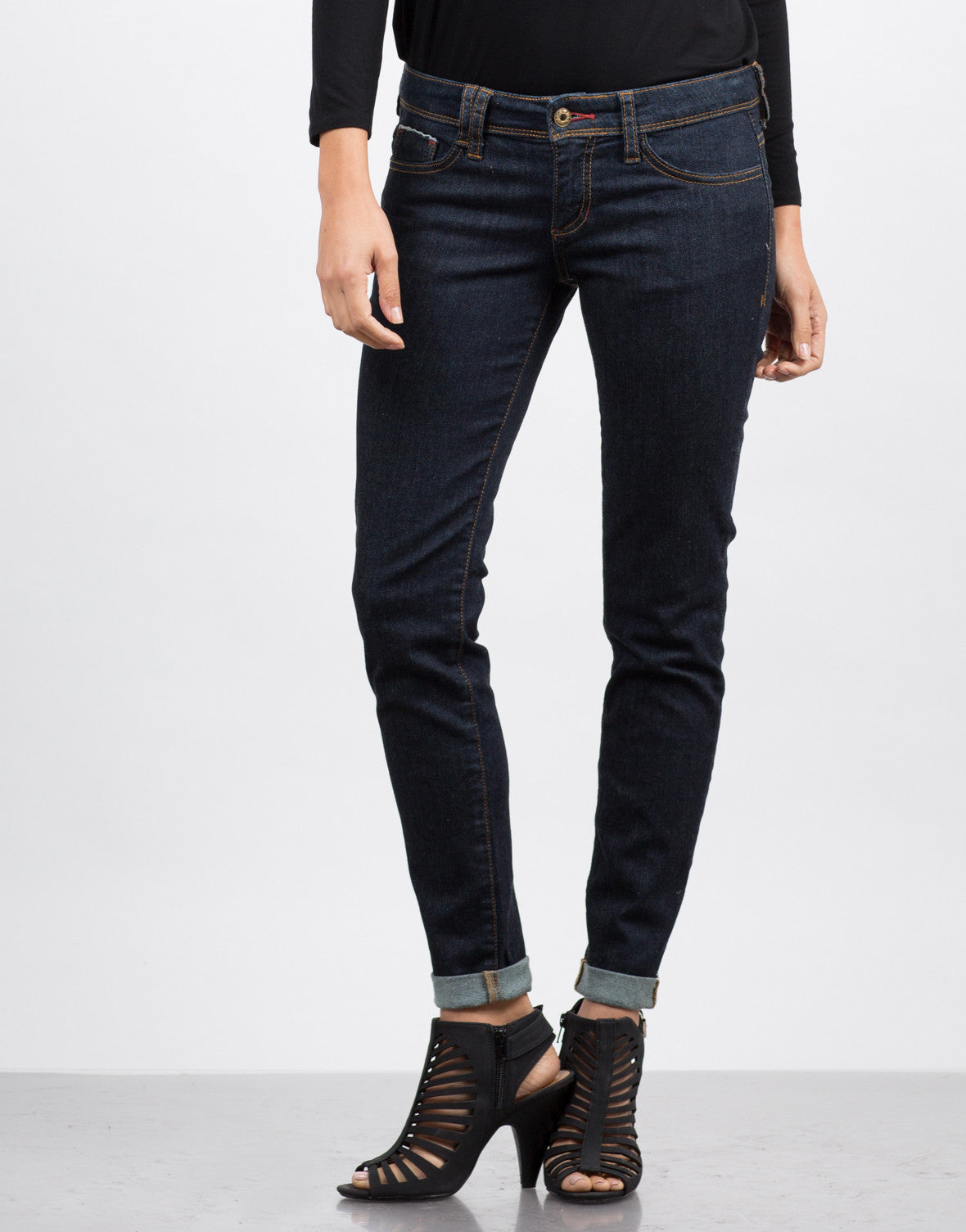 Front View of Roll Up Jeans