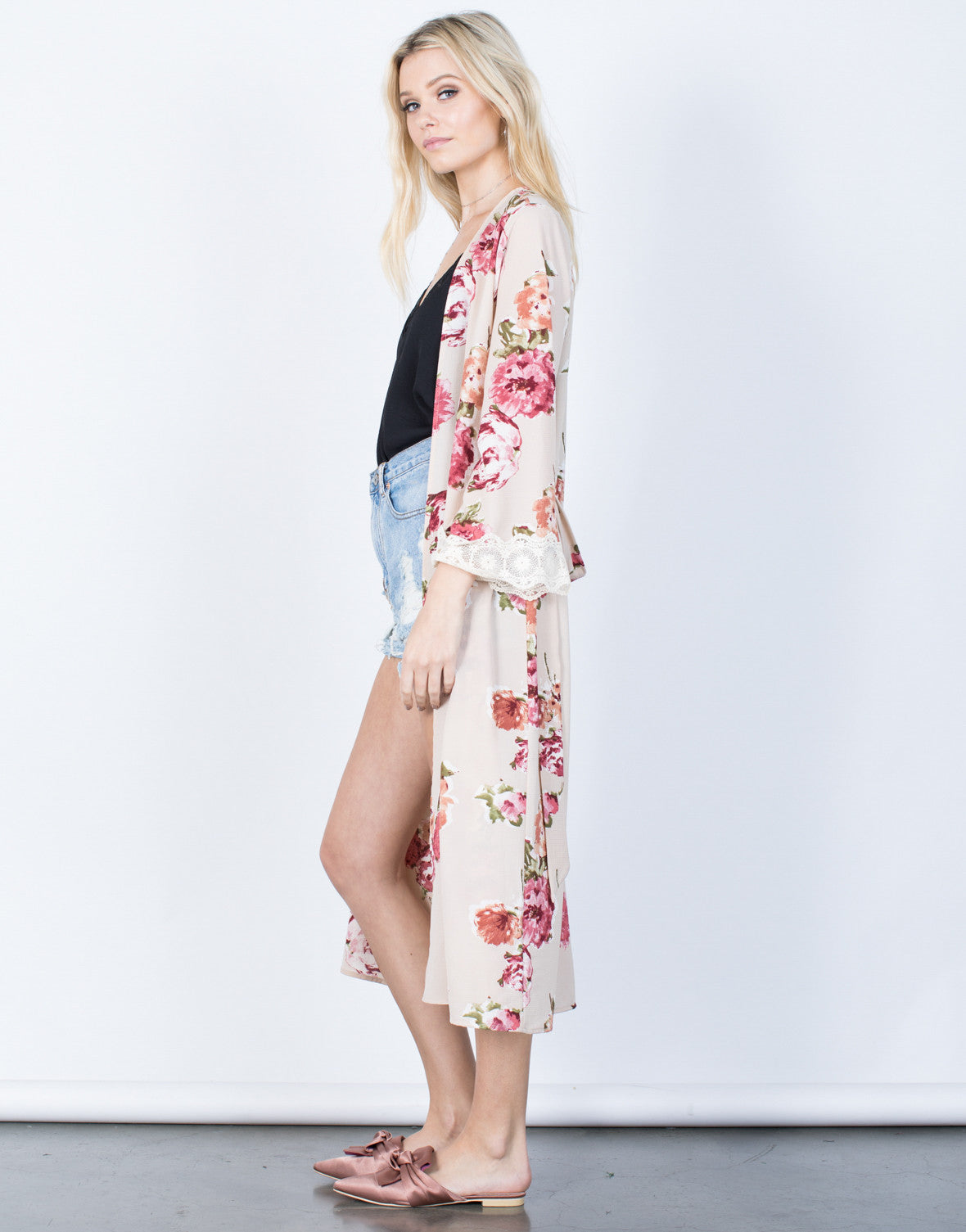 Side View of Romantic Floral Robe