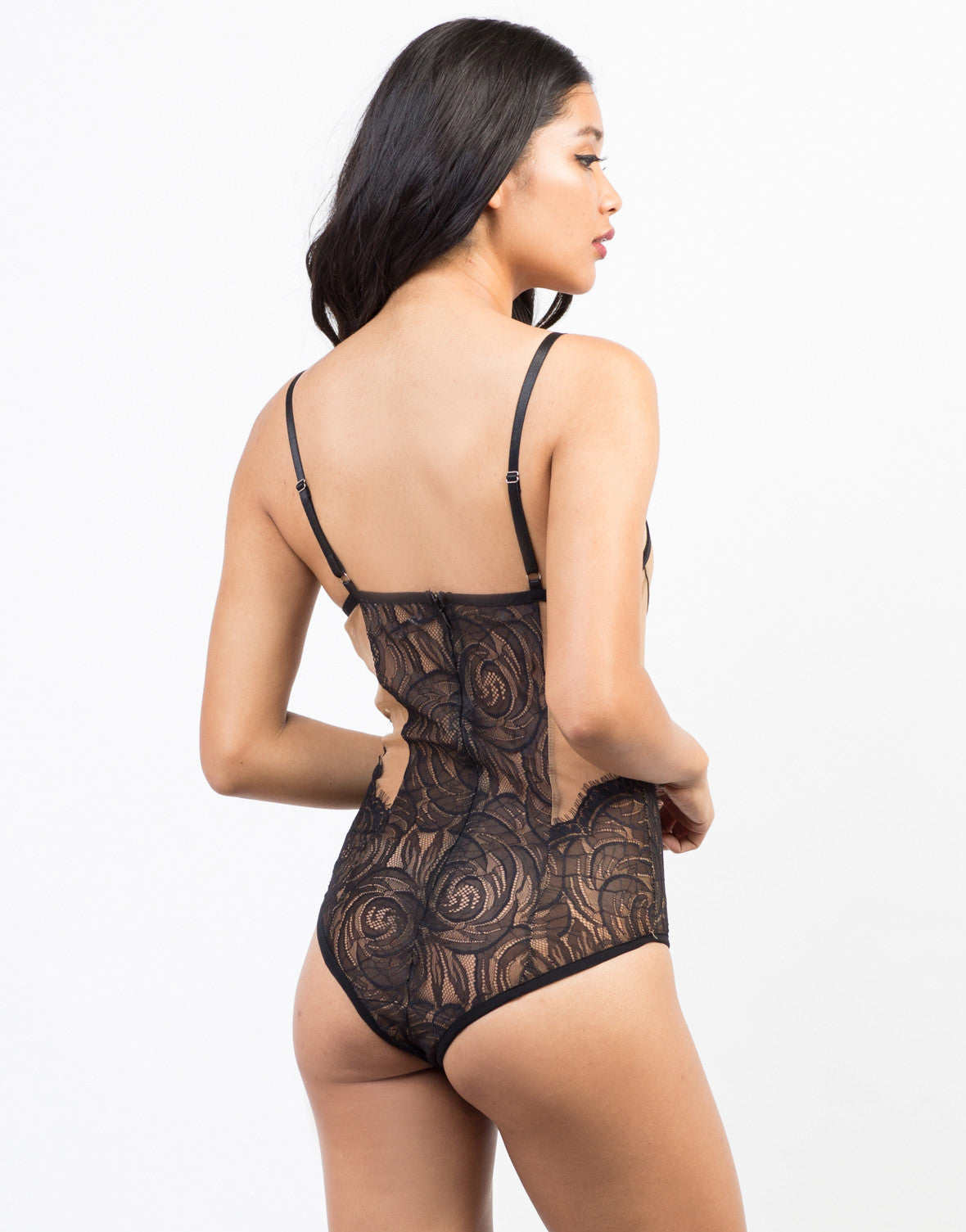 Back View of Romantic Lacey Bodysuit
