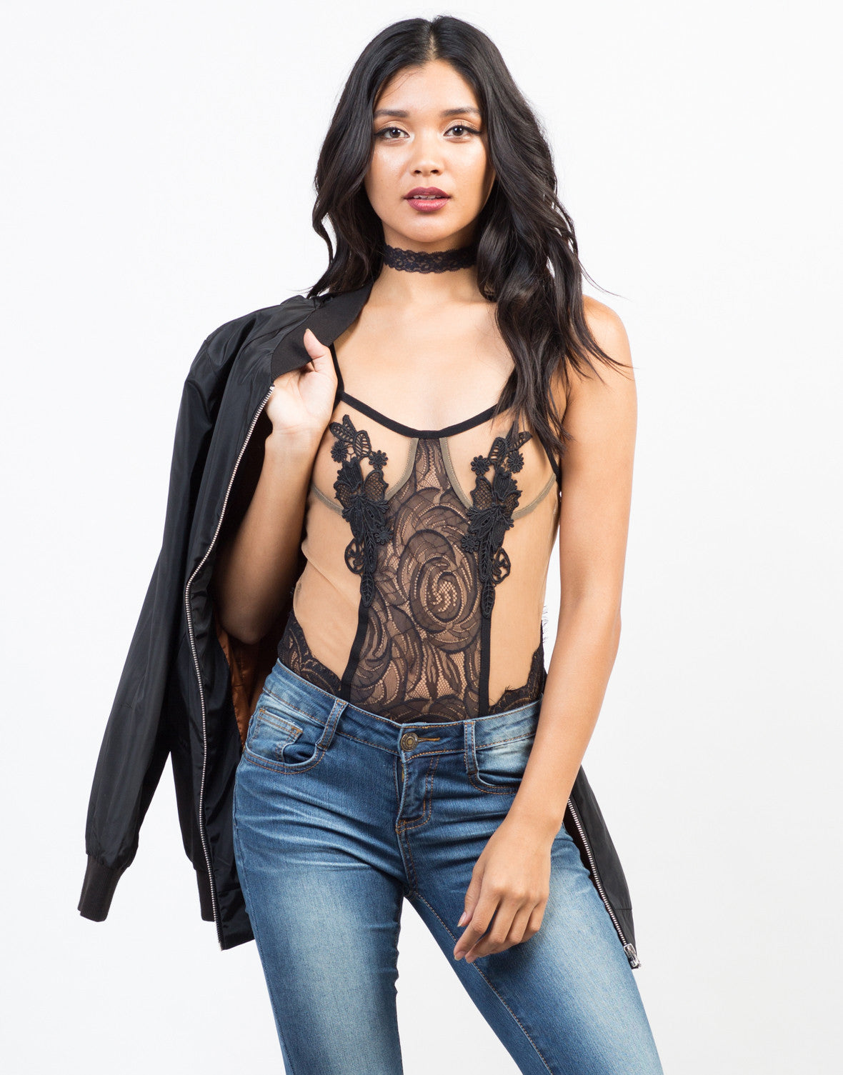 Front View of Romantic Lacey Bodysuit