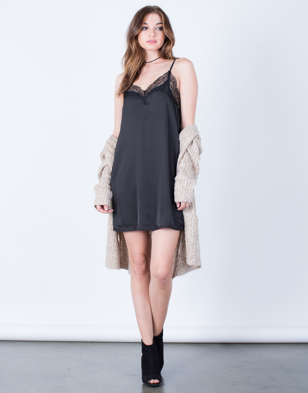Front View of Romantic Lacey Slip Dress