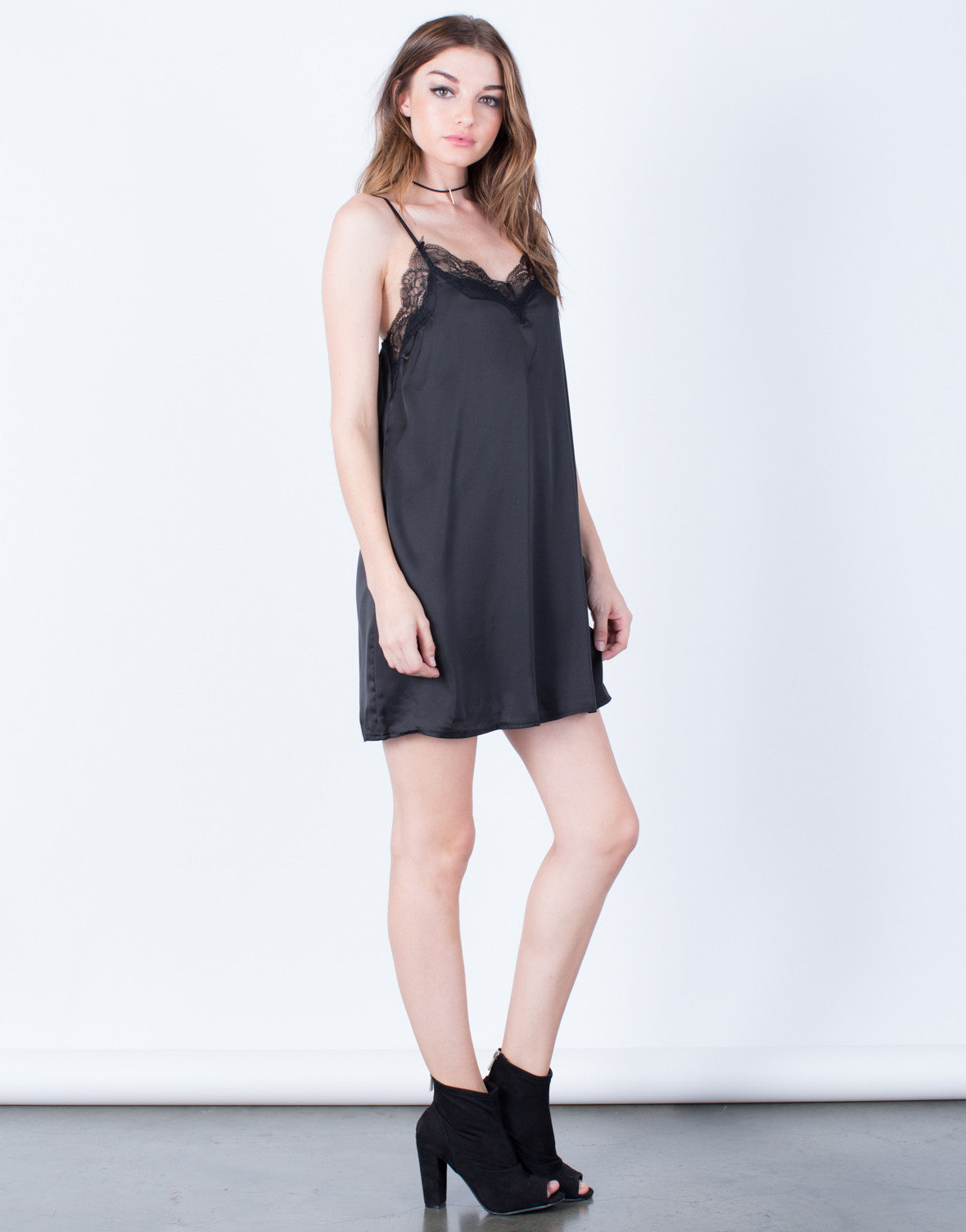 Side View of Romantic Lacey Slip Dress