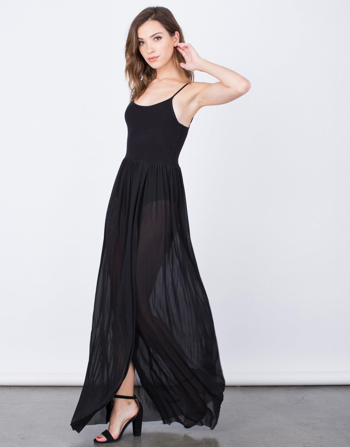 Side View of Romantic Maxi Dress