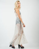 Side View of Romantic Lacey Overlay Dress