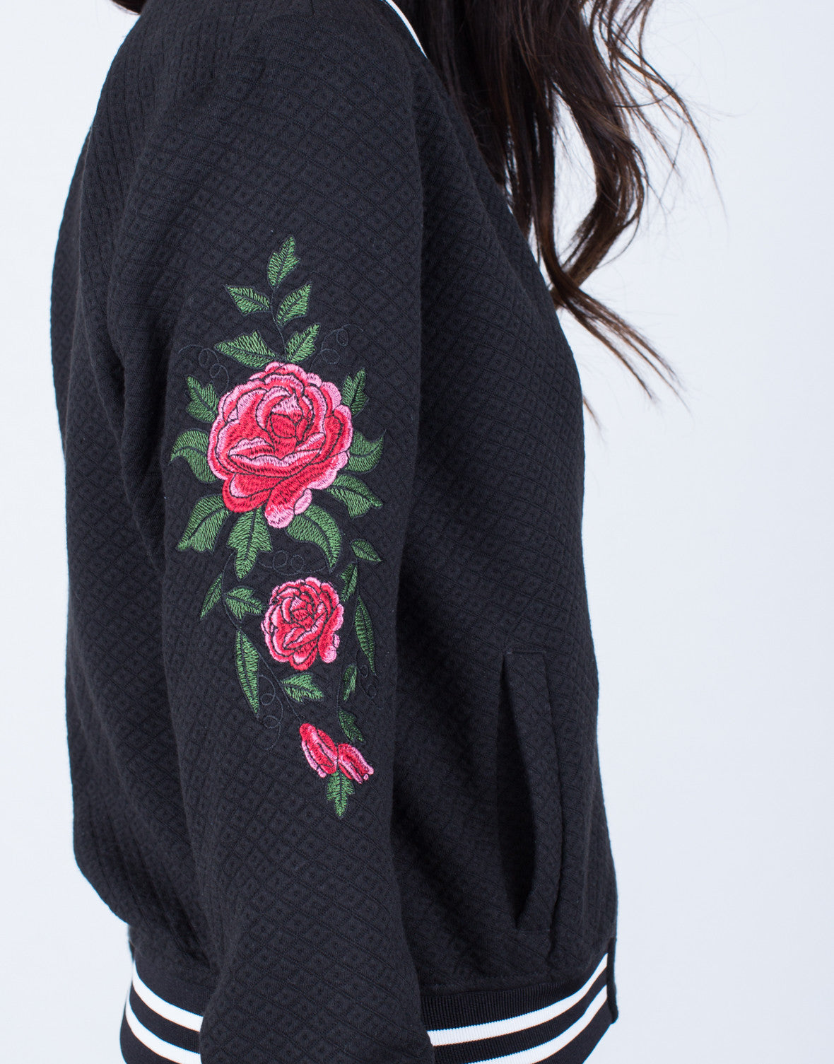 Rose Embroidered Bomber