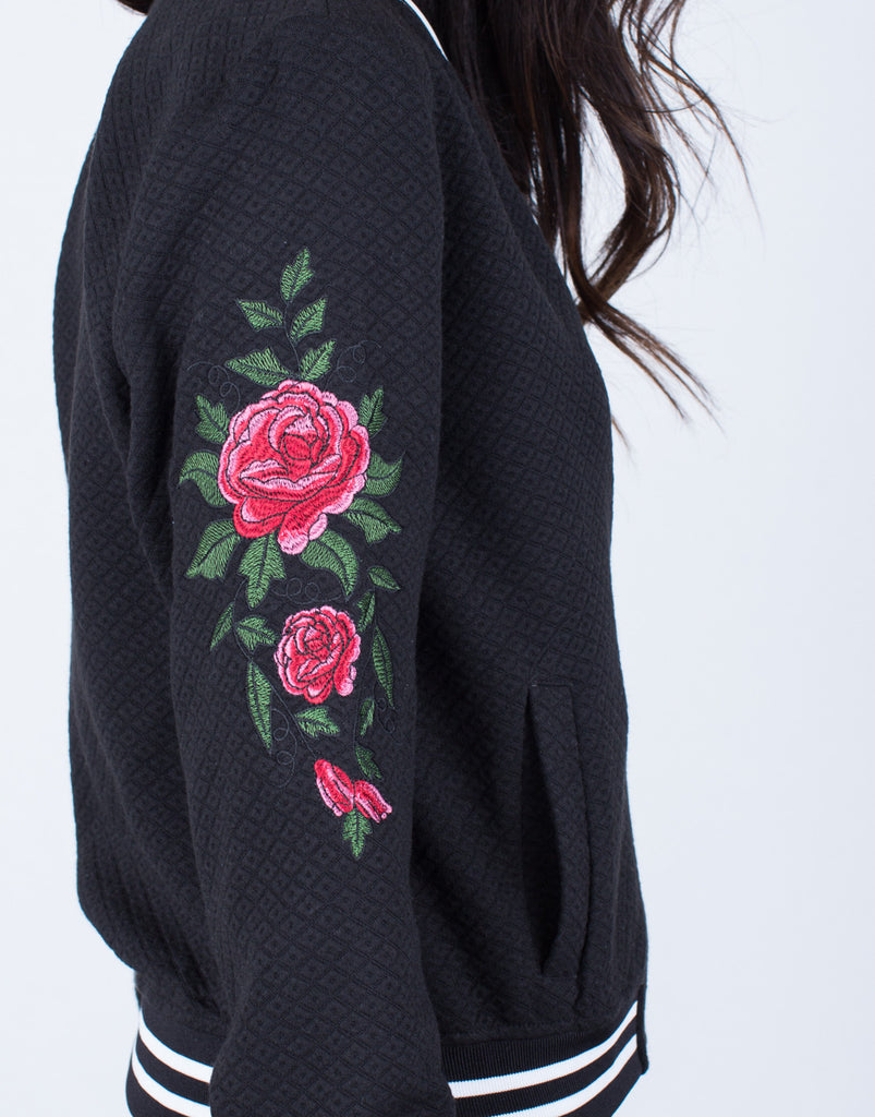 Rose Embroidered Bomber - 2020AVE