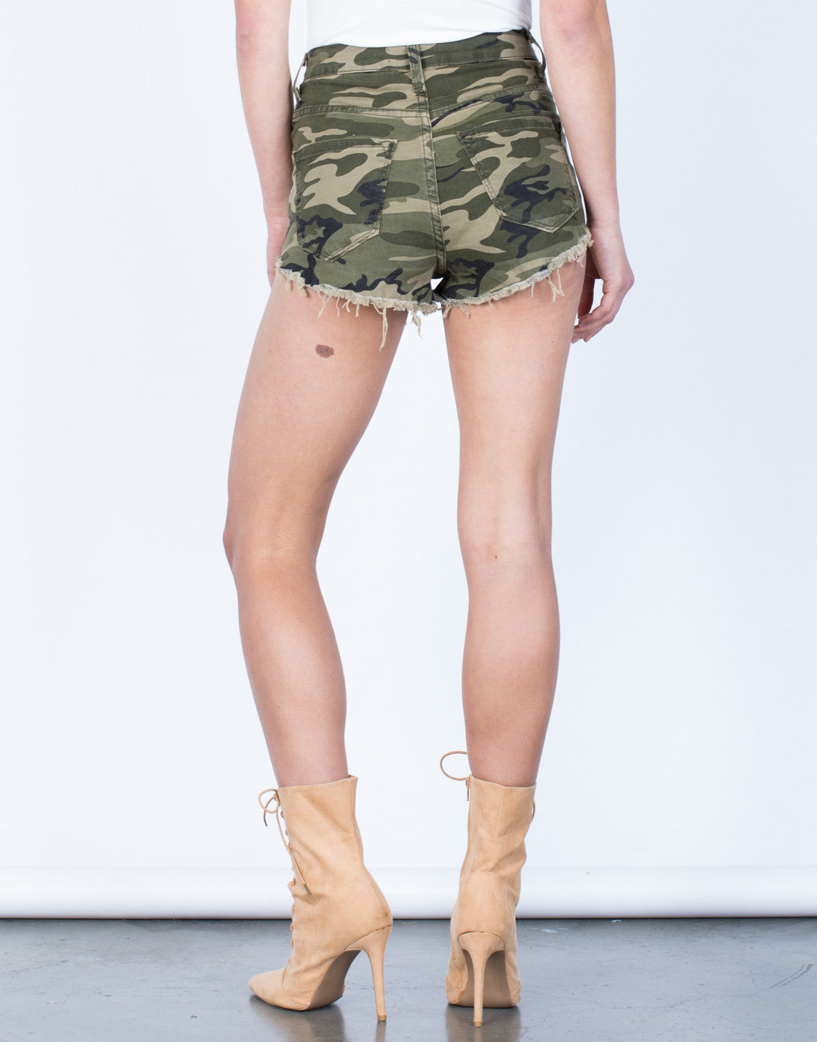 Back View of Rose Embroidered Camo Shorts