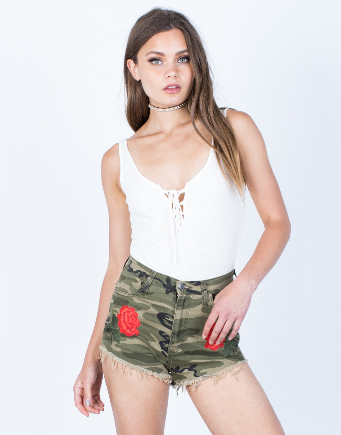 Front View of Rose Embroidered Camo Shorts