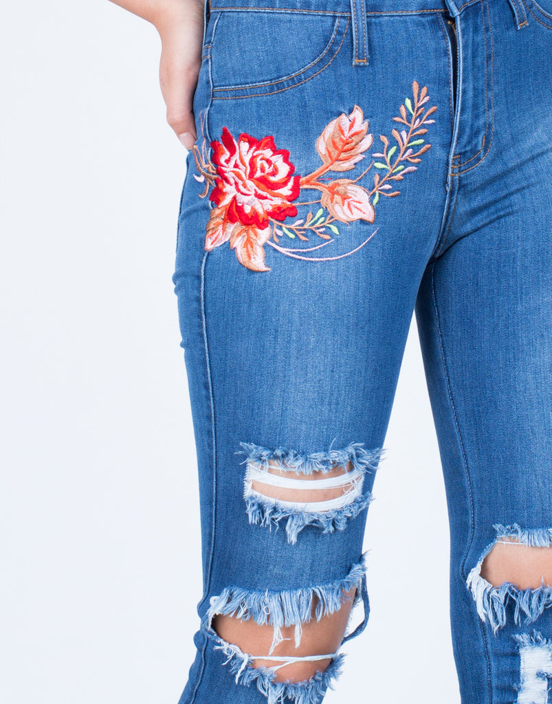Detail of Rose Embroidered Jeans