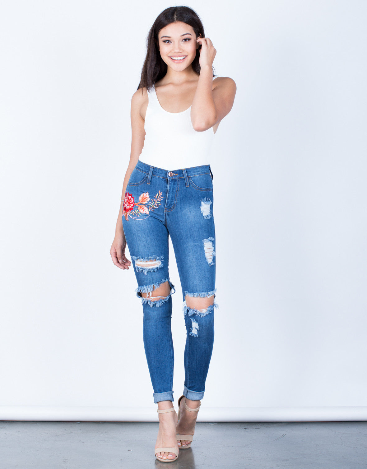 Front View of Rose Embroidered Jeans