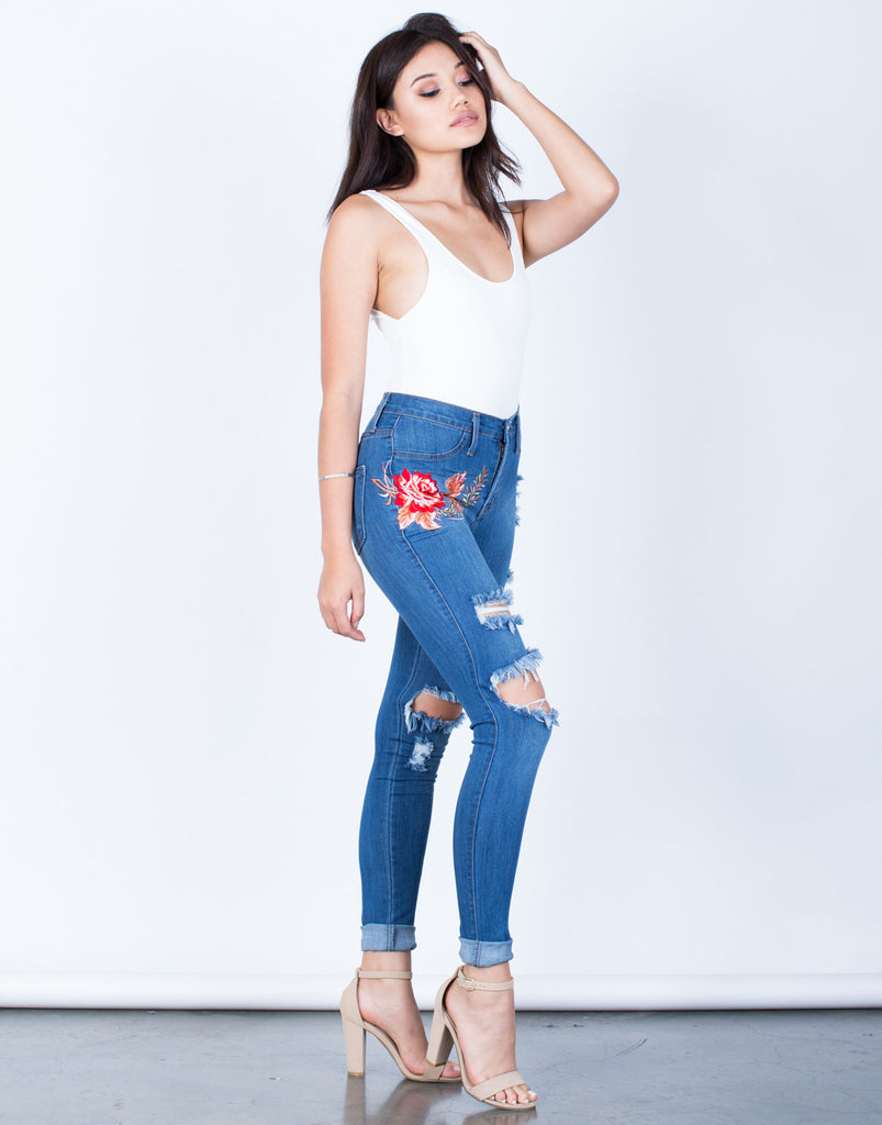 Side View of Rose Embroidered Jeans