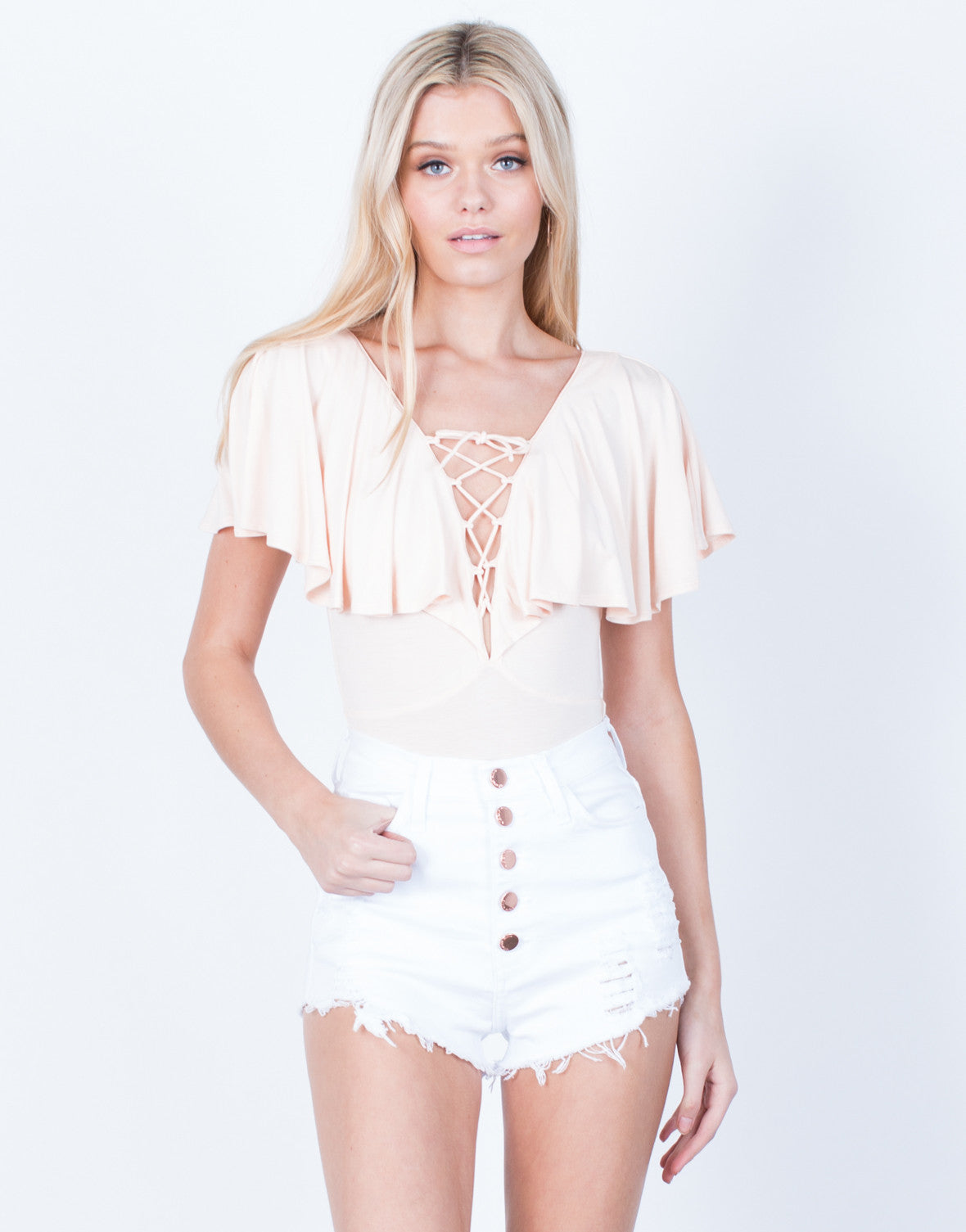 Front View of Rose Gold Buttoned Shorts