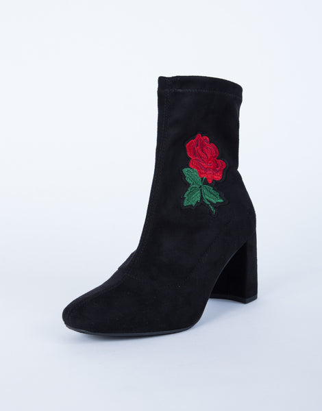 Rose patched boots black suede embroidered
