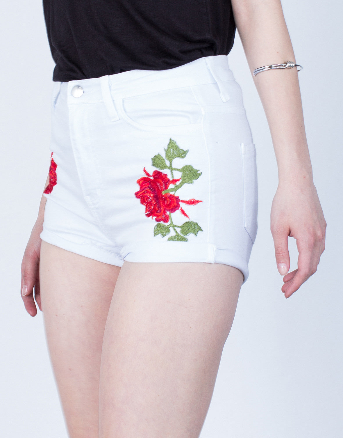 Detail of Rose Patched Denim Shorts