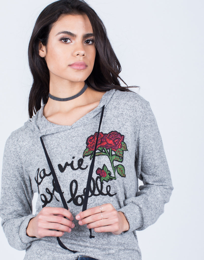 Rose Patched Hoodie - 2020AVE