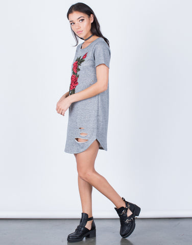 Side View of Rose Patched Tee Dress