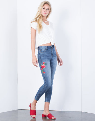 Rosey Cheek Patched Jeans