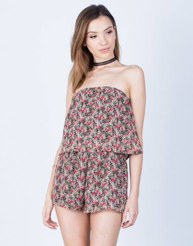 Front View of Rosey Chiffon Romper