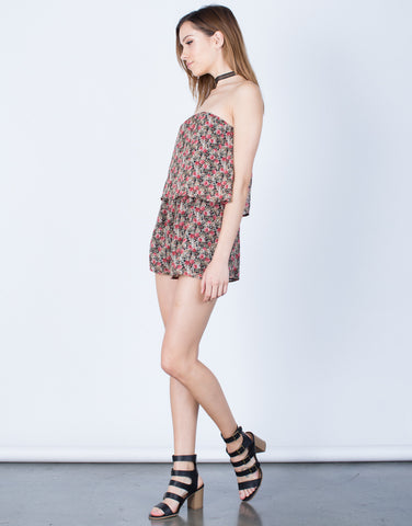 Side View of Rosey Chiffon Romper