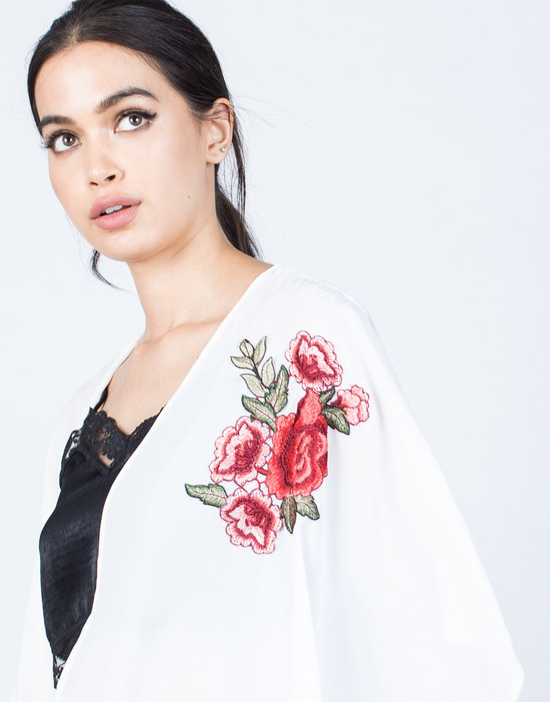 Detail of Rosey Embroidered Cardigan