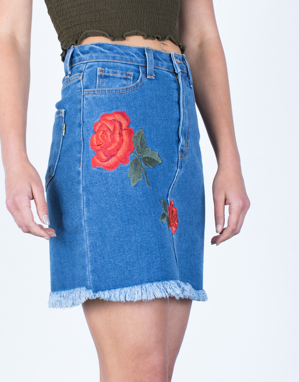 Detail of Rosey Embroidered Skirt