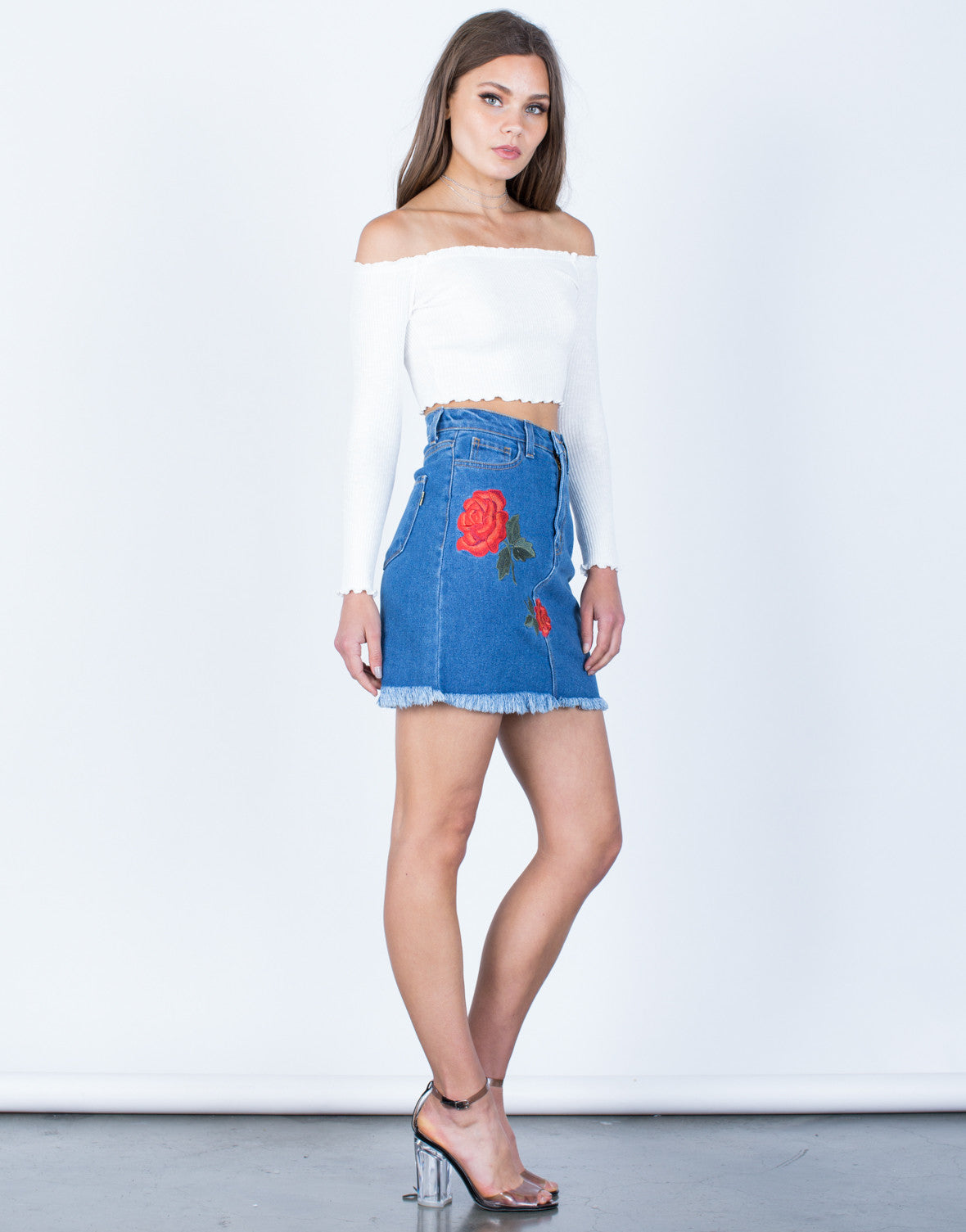 Side View of Rosey Embroidered Skirt