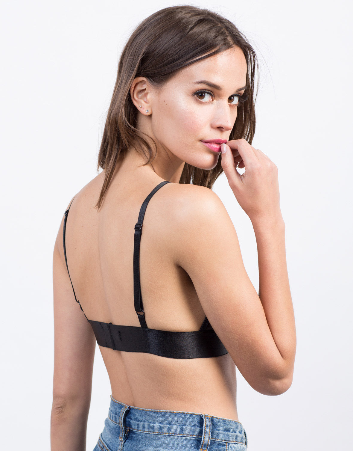 Back View of Rosey Lace Mesh Bralette
