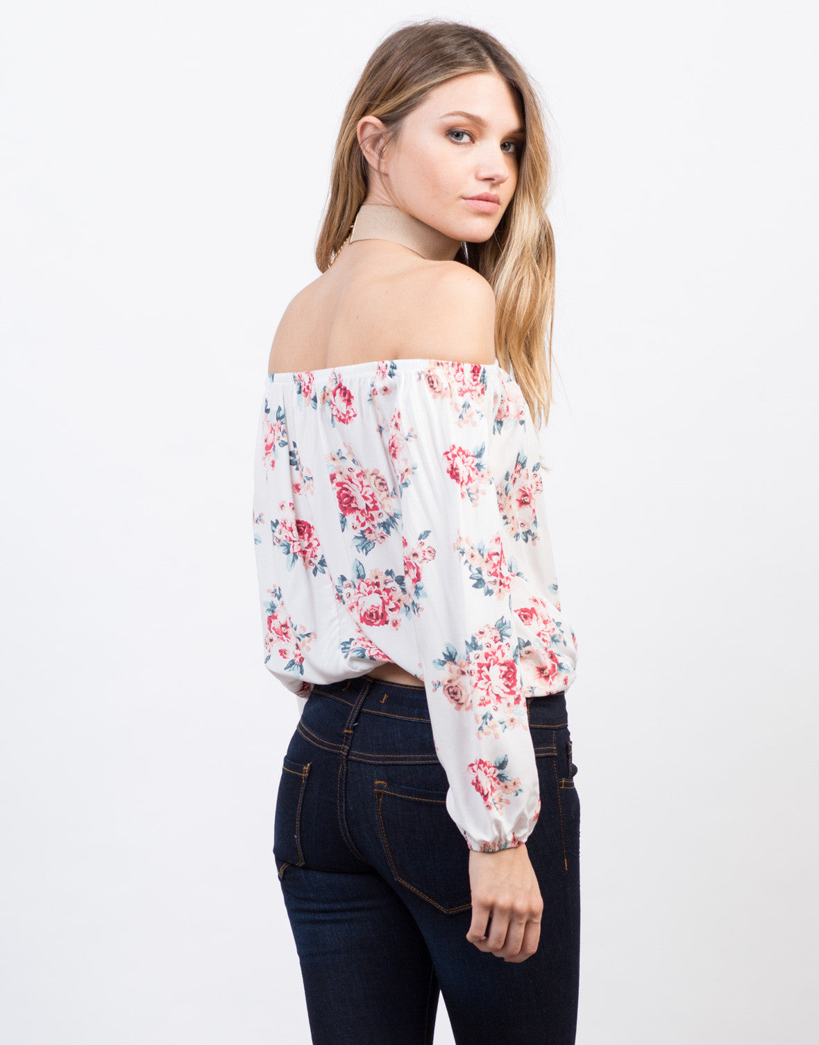 Back View of Rosey Off-the-Shoulder Crop Top