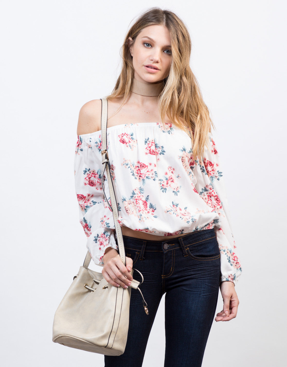 Front View of Rosey Off-the-Shoulder Crop Top