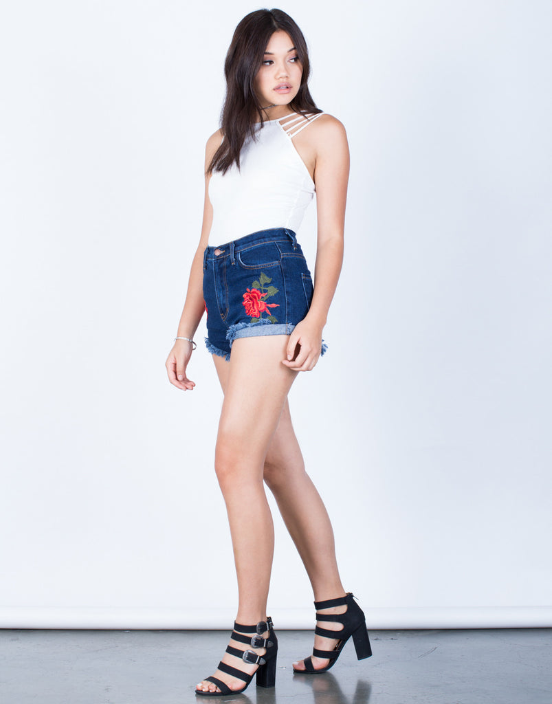 Side View of Rosey Patched Denim Shorts