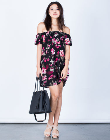 Front View of Rosey Pink Floral Dress